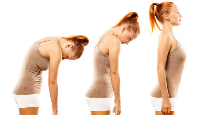 a woman in three different posture poses