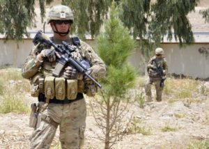 fully armed US soldier