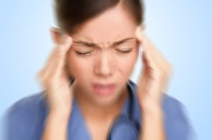 woman with intense headache