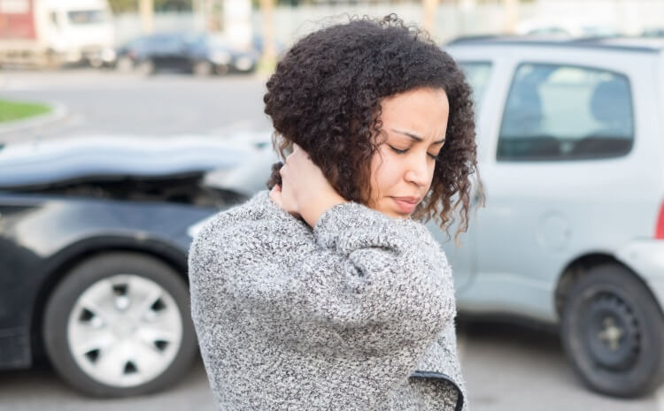 a woman feeling bad after car accident